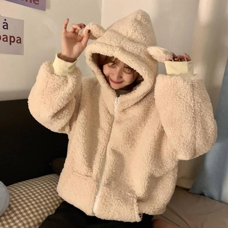 韩版减龄可爱耳朵连帽卫衣女秋冬学生宽松仿羊羔毛绒绒加厚外套潮