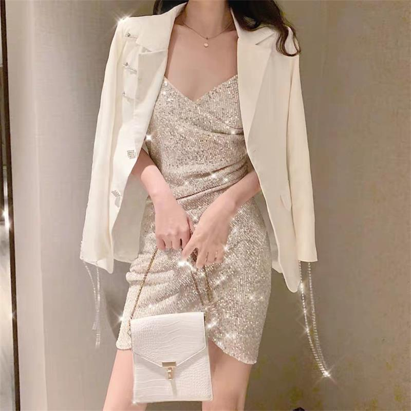 Sexy goddess fan xiaoxiangfeng suit coat with sparkle sliver suspender Dress Set