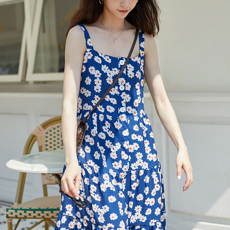 Yiwans new dress of 2021 womens dress with sweet sling French slim long skirt gentle wind skirt summer