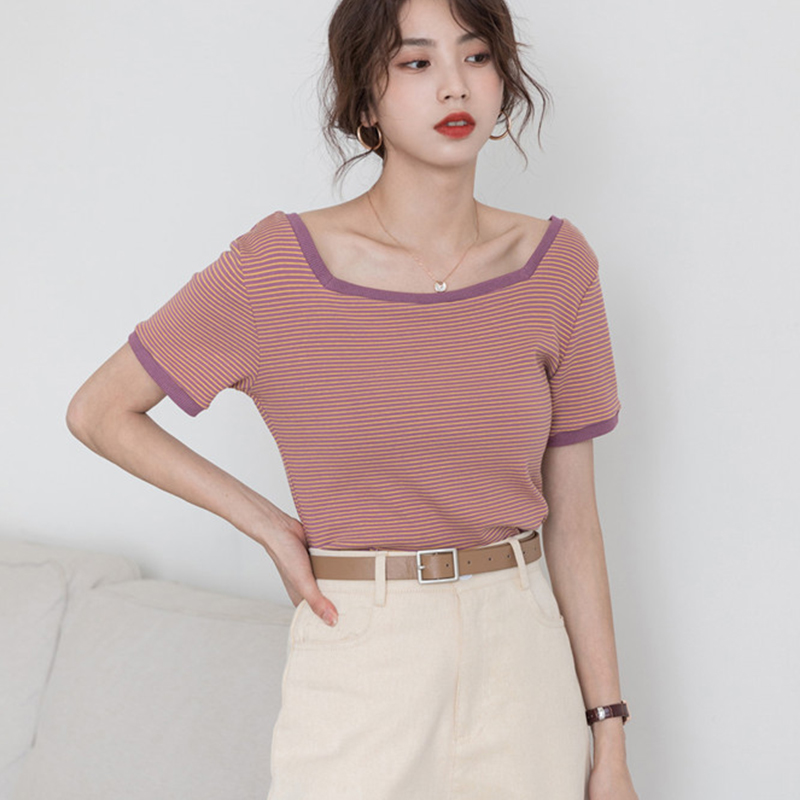 Yiwan 2021 summer new short sleeve T-shirt, square collar, slim stripe, leisure port style, simple and versatile womens top