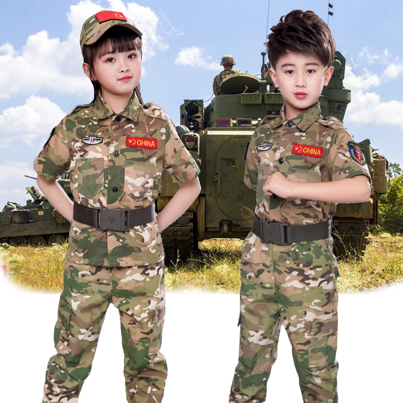 Childrens CP camouflage suit, short sleeve suit, summer special soldier suit, boy student military training, ocean camouflage, spring and autumn childrens clothing