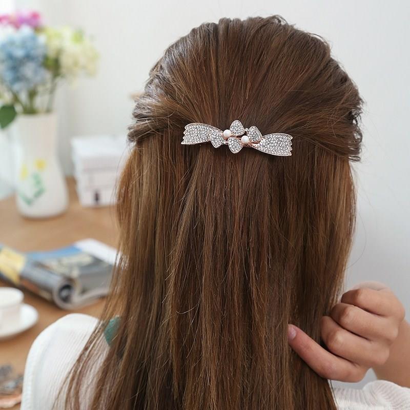 日本夹子女士妈妈发卡子中老年人头饰弹簧夹发饰婆婆送中年水钻发