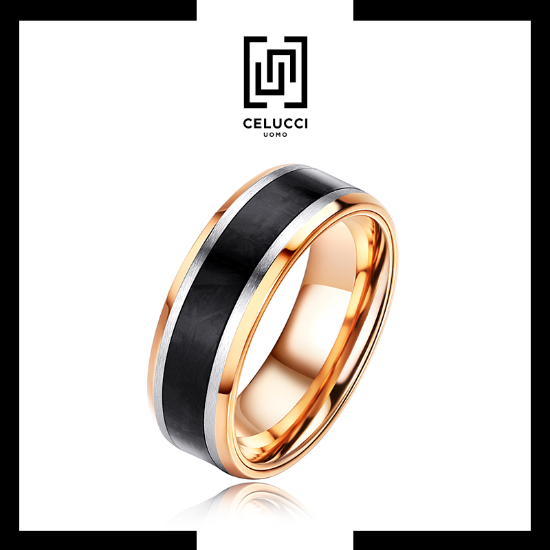 Celucci gold black ring mens trendy alloy personalized simple ring single index finger fashion original business style