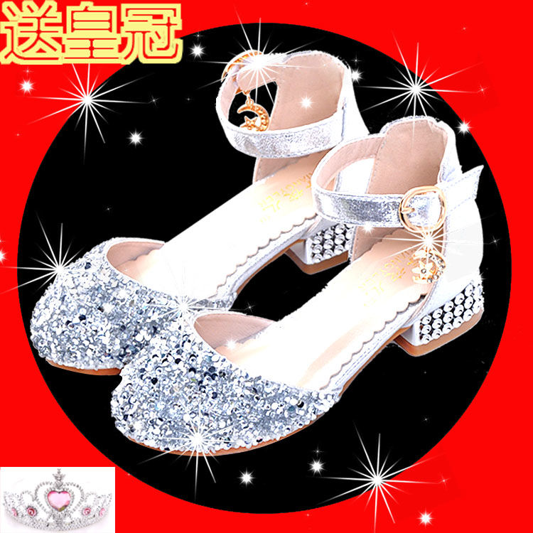 Thick heels childrens high heels beautiful little princess shining stage shoes shining host singing contest girls