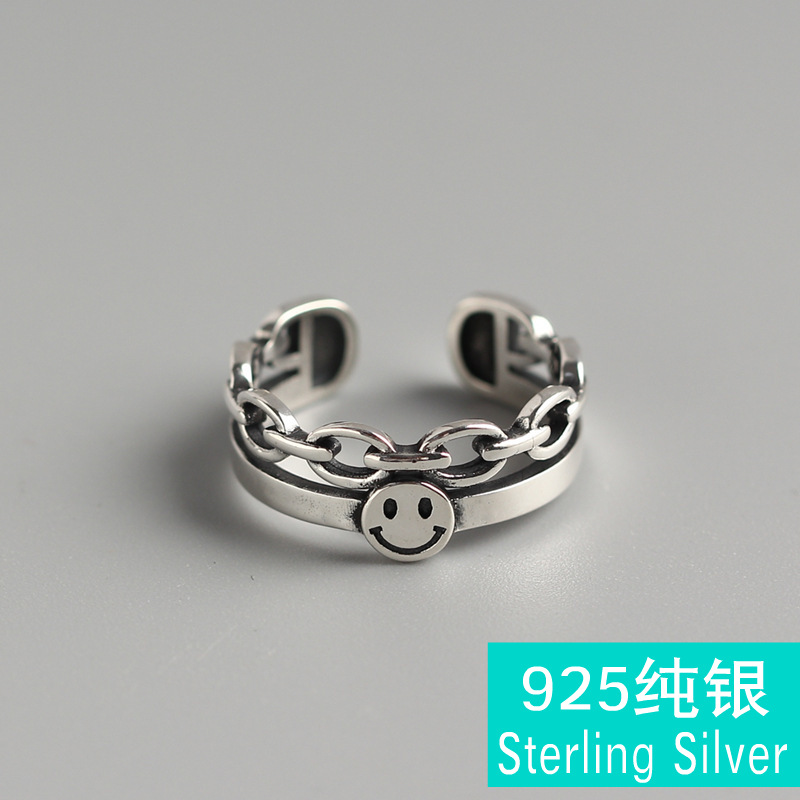 TYJ0218 韩国东大门复古笑脸双层戒指 S925纯银个性食指戒银戒指