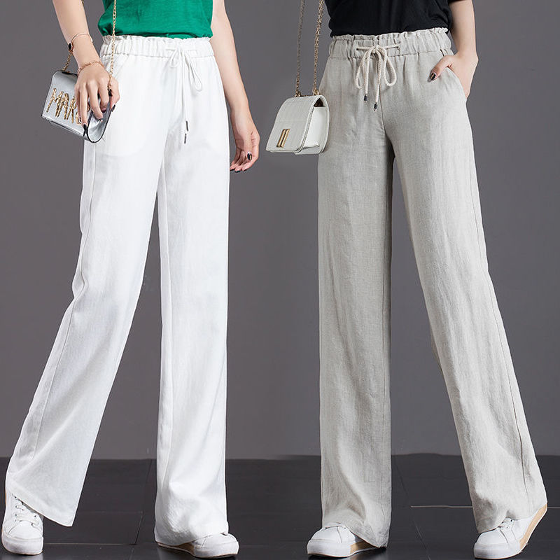 Yingling pure cotton wide leg pants womens high waist summer Capris vertical straight pants drop loose slim casual pants