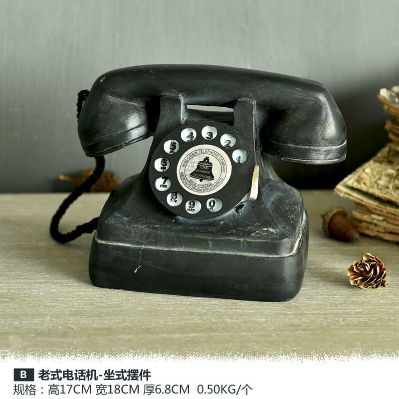 怀旧物件老式电话机古董摆件模型民国仿真装饰品复古电影道具。