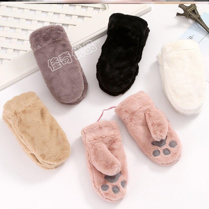 猫爪手套绒质半指毛茸茸女式大学生百搭送女友软妹小仙女休闲礼物