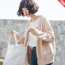 韩版chic毛衣女春秋学生外穿宽松加厚短款百搭针织开衫原宿外套潮