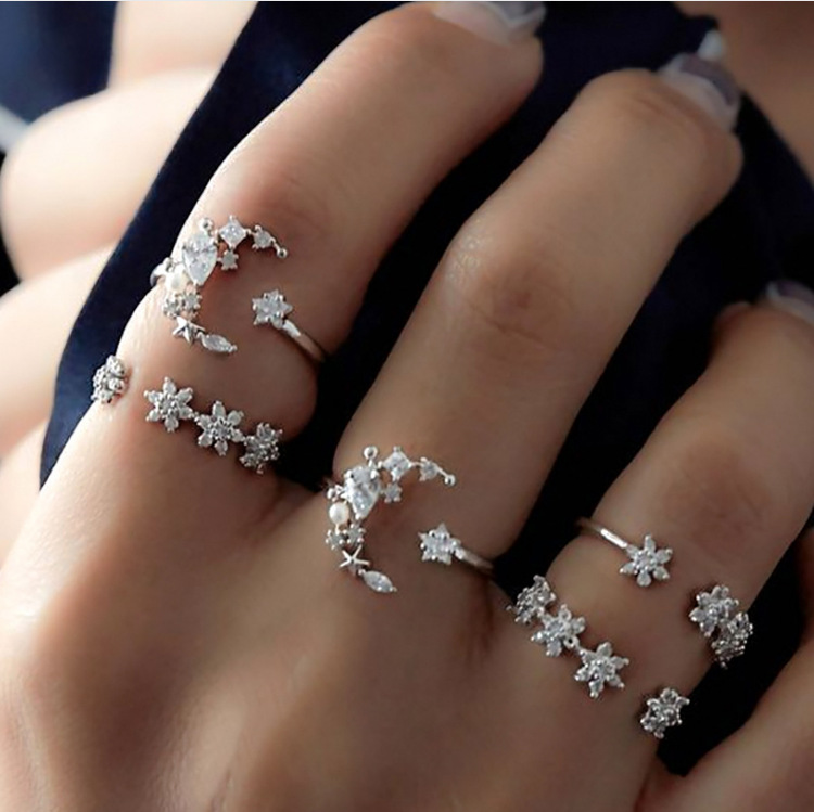 European and American cross-border five piece diamond ring set female retro Star Moon Crystal joint ring