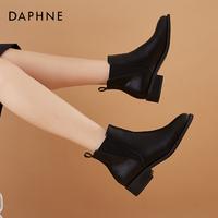 查看达芙妮粗跟切尔西靴短靴女法式靴子英伦风马丁靴女春秋单靴烟筒靴价格
