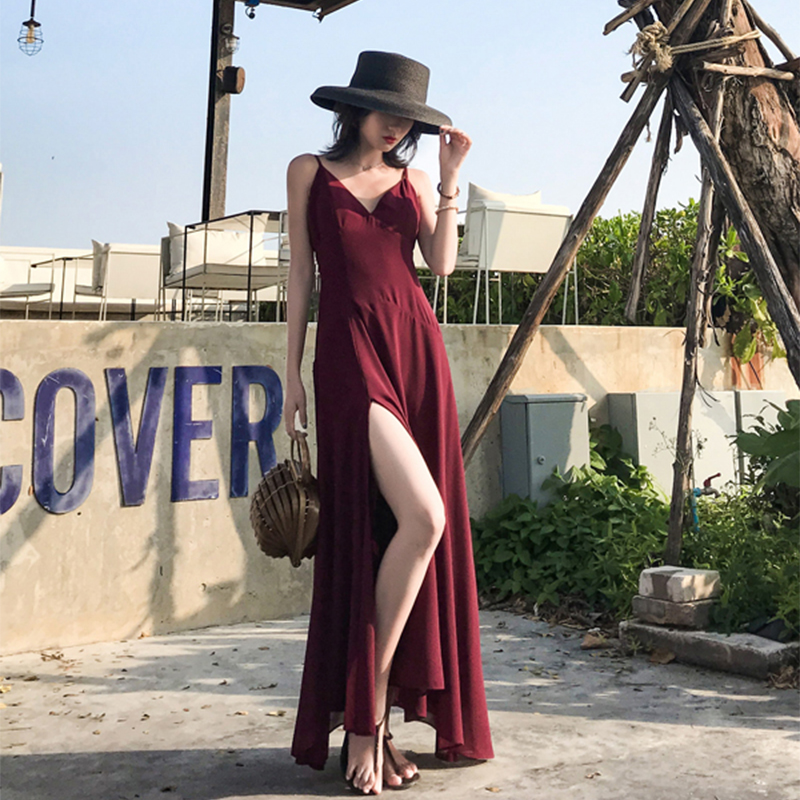 手慢无很仙的套装维多利亚复古裙沙滩裙海边度假露背2019网红时尚连衣裙
