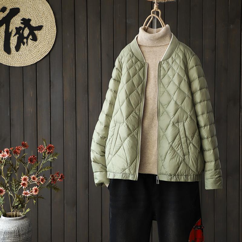 韩版简约时尚轻薄短款羽绒服冬季新品宽松90白鸭绒立领棒球服外套