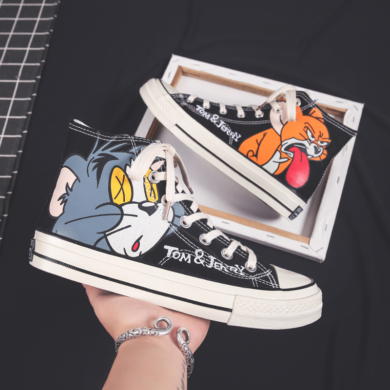 Cat and mouse canvas shoes Korean fashion net red versatile casual board shoes mens high top printing cartoon graffiti Harun shoes