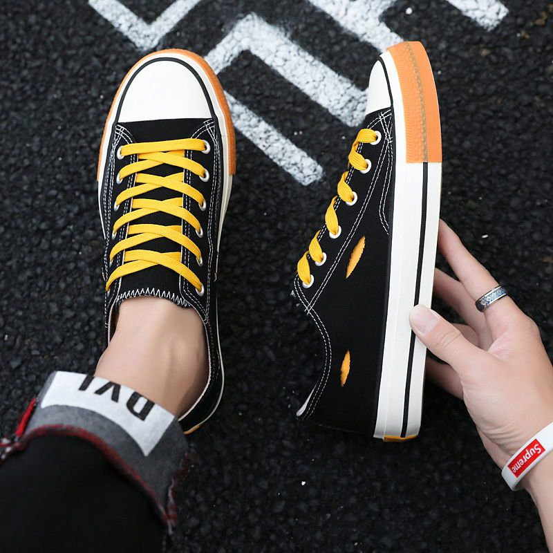 Canvas shoes mens low top Korean fashion student board shoes lace up mens shoes social guys high top casual shoes