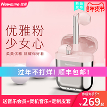 Newman R7 Bluetooth headset wireless single and double ear hook half in earplug Huawei Apple Android universal boys and girls' online red pink sports running unlimited invisible Mini super long endurance