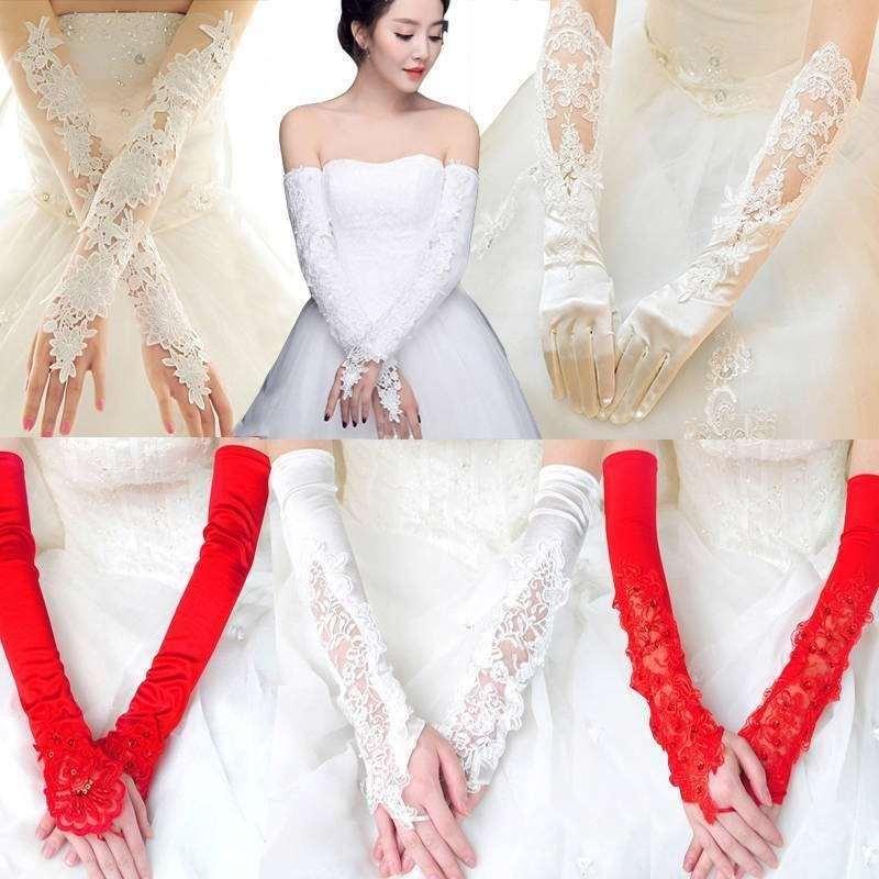 红新娘 婚 结婚红新娘婚结婚手套蕾丝红色白色冬季婚纱婚礼优雅长