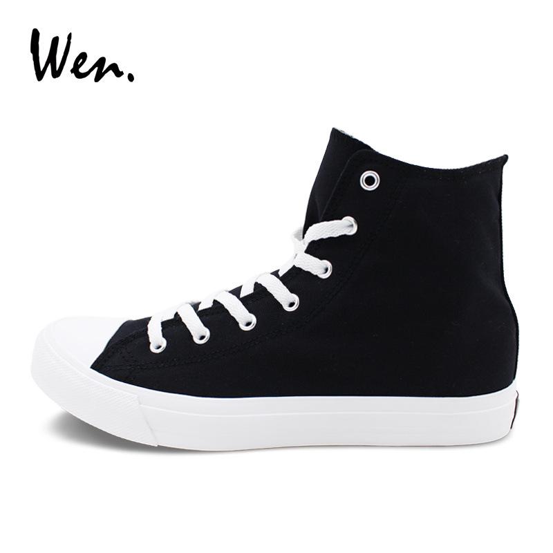 Wen小白鞋女男35-49码超大码白黑色高帮运动鞋情侣中性休闲帆布鞋