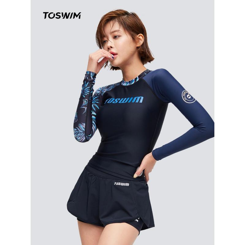TOSWIM分体温泉泳衣性感女韩国长袖遮肚显瘦保守2020年新款