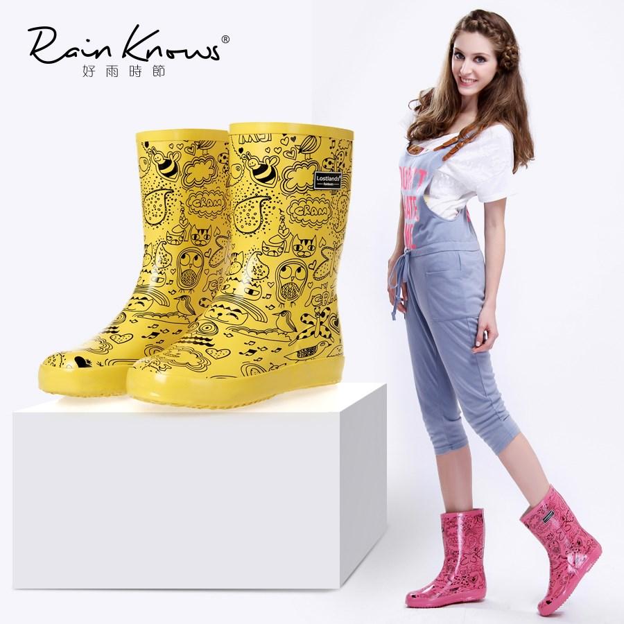 好雨时节春夏款橡胶女式雨鞋中筒卡通涂鸦雨靴水鞋酷街头风雨鞋