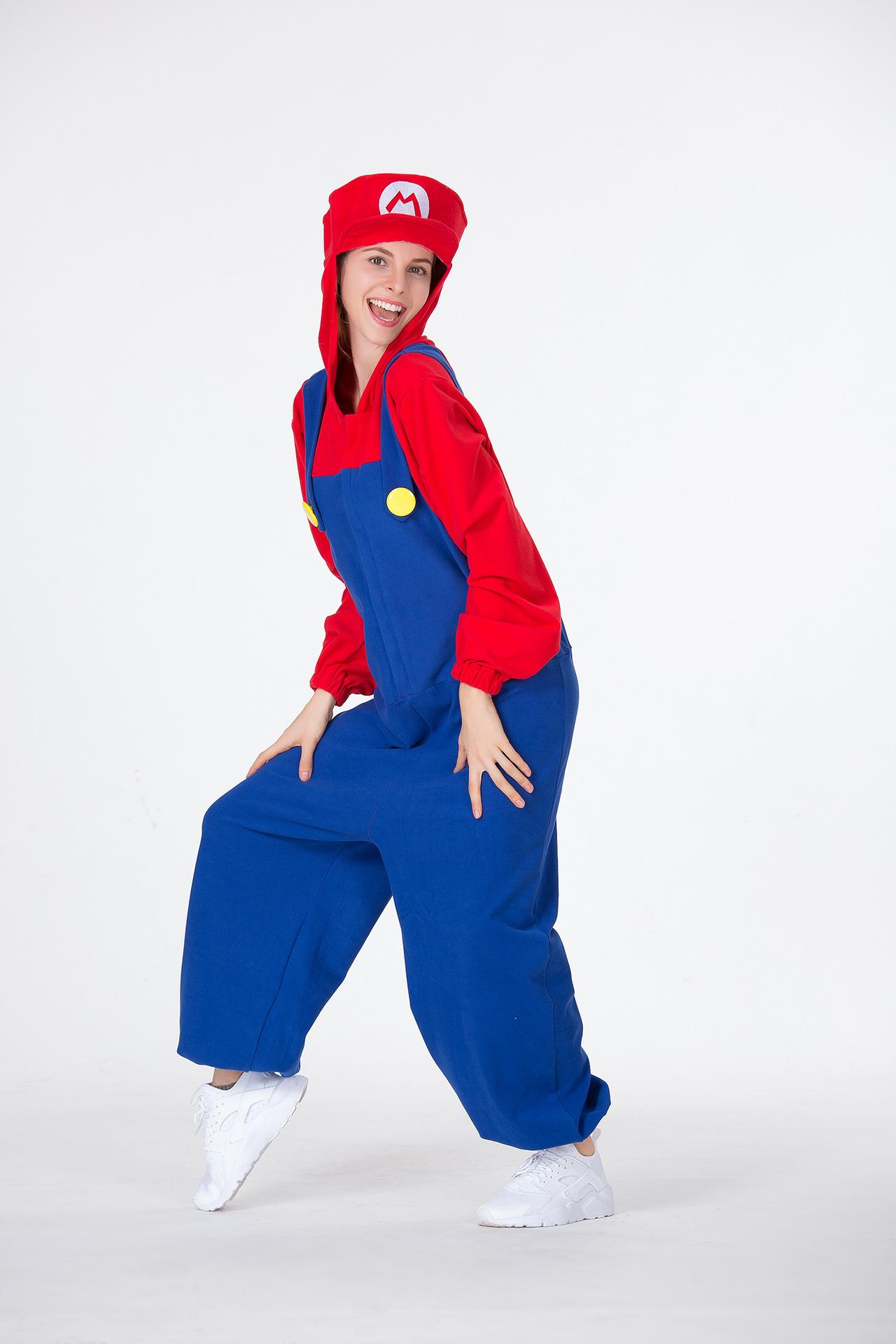 万圣节服装角色扮演红绿玛丽奥水管工人游戏服卡通超级玛丽服