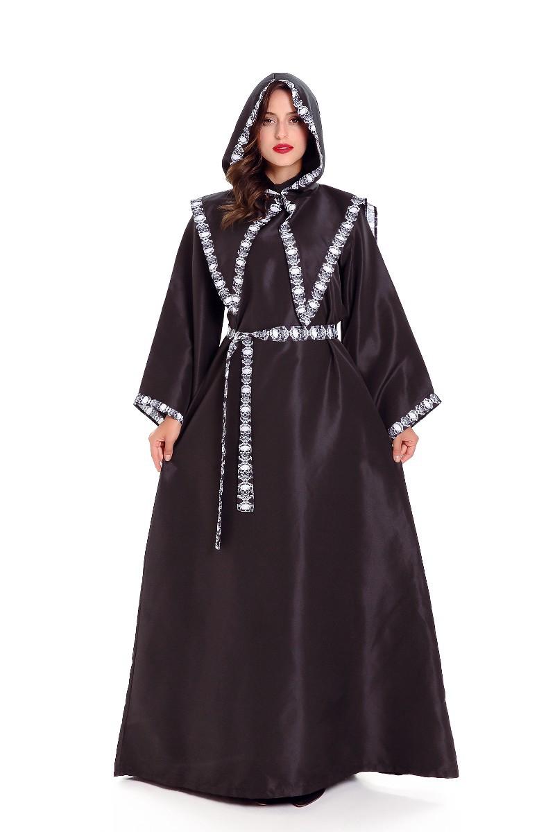 万圣节服装男女情侣巫师扮演服老巫婆骷髅装长袍角色装服舞台装