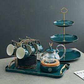 英式北欧风陶瓷玻璃花茶具套装煮水果花茶壶下午茶茶具蜡烛可加热图片