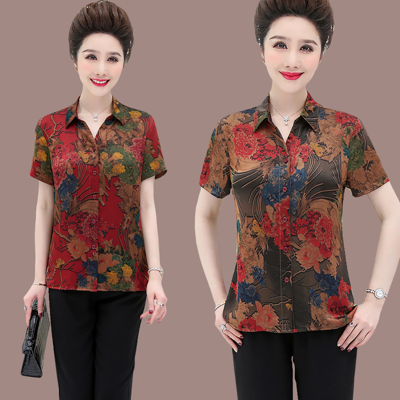 2020 mothers spring and summer silk shirt Large middle-aged and elderly womens silk shirt Hangzhou silk top