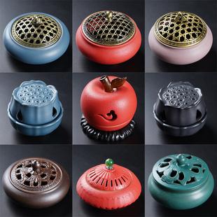 陶瓷香炉家用茶道配件用具复古盘香香薰炉室内供佛摆件小号卫生间