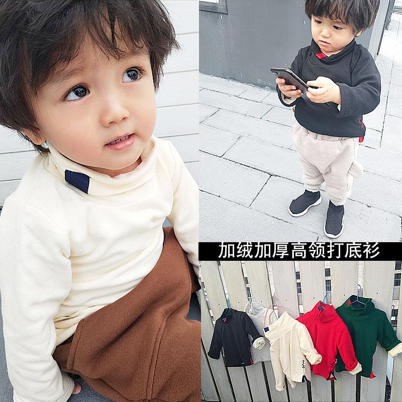 宝宝打底衫加绒秋冬新款高领上衣中小儿童套头卫衣男女童加厚T恤