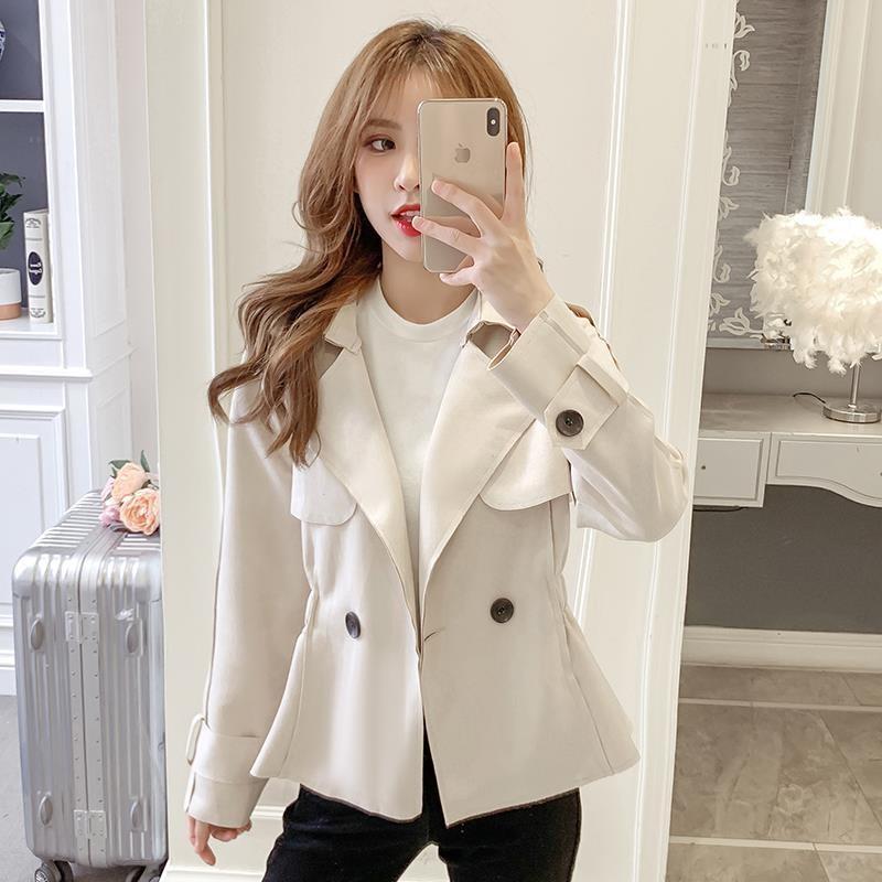 。 Autumn and winter new Korean short coat womens work jacket versatile slim double breasted Lapel Ruffle cardigan
