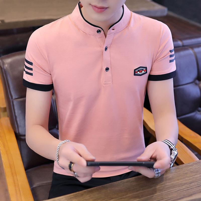 【2020新款】时尚男士夏季短袖T恤男装棉质透气打底衫立领POLO衫