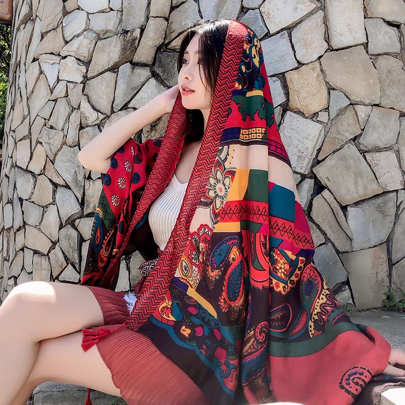 民族风棉麻丝巾春秋夏季防晒披肩女沙滩围巾两用百搭海滩超大纱巾