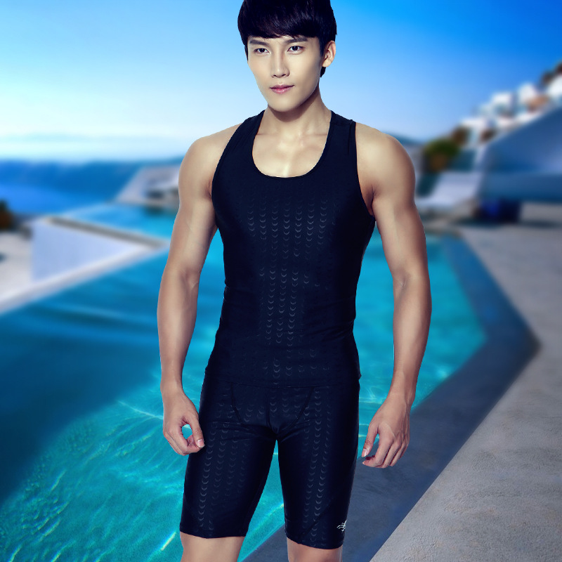 Youyou professional mens swimsuit waterproof slim fit comfortable swimsuit top sleeveless Tight Sexy swimming pants equipment