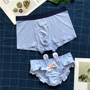 冰絲情侶內褲2020新款可愛卡通情侶款內衣套裝小內內創意純棉