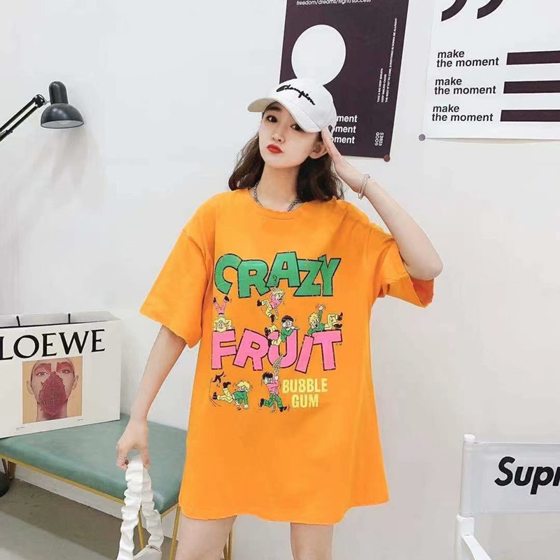Candy color cartoon print 2021 new net red fashion short sleeve T-shirt loose large womens top and bottom coat