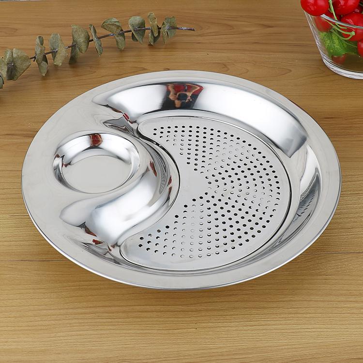 包邮加厚不锈钢饺子盘 带沥水带醋碟 家用盘子双层水饺蒸盘饺子盘