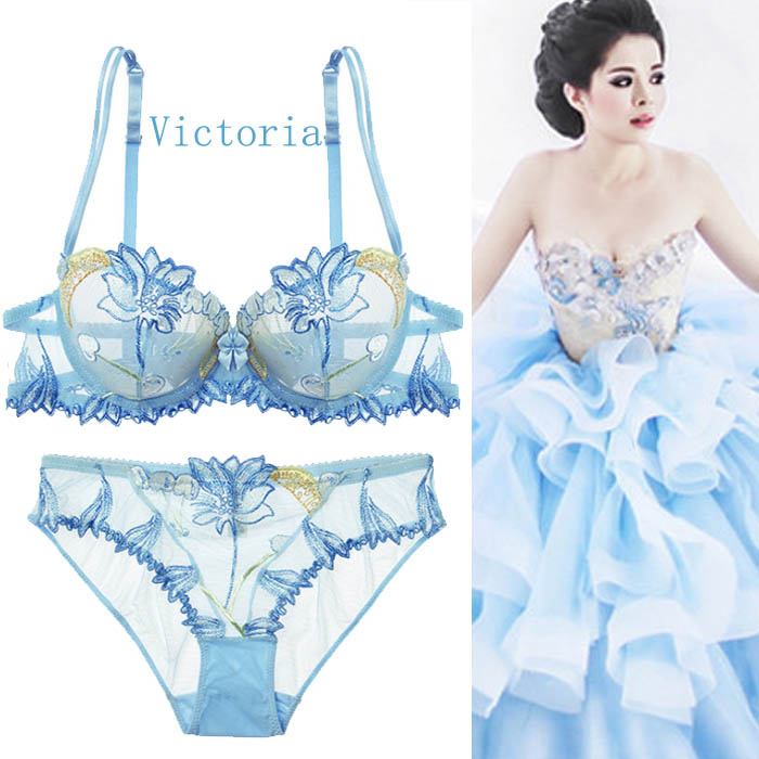 Transparent embroidery ultra thin lace underwear alluring Lovers sexy small chest gathered without steel ring thin bra set