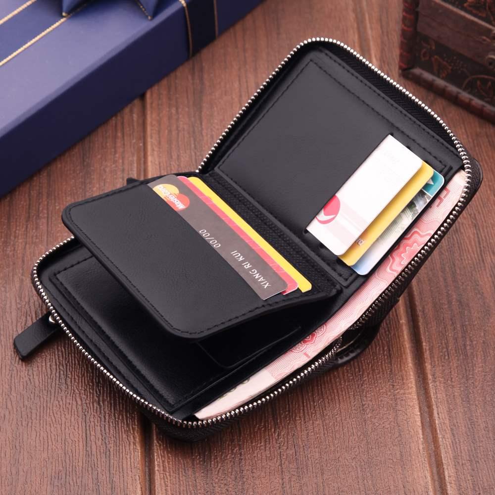 日本购拉链钱包男士短款皮夹竖款折叠多功能男土卡位多复古软皮钱