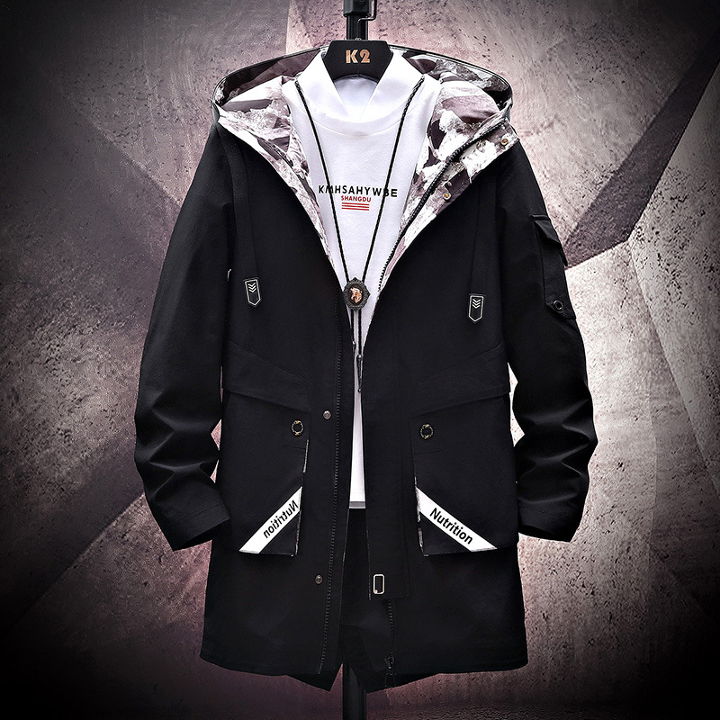 Spring and autumn new mens jacket coat hooded fashion color matching mens wear youth Korean version medium length windbreaker mens wear