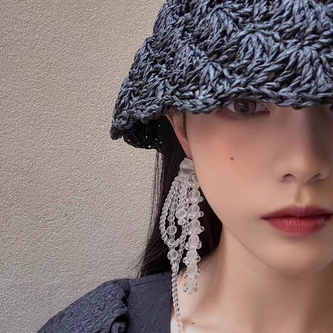 韩国砂珠串珠耳饰耳环流苏敲仙系列仲夏夜之梦磨耳饰