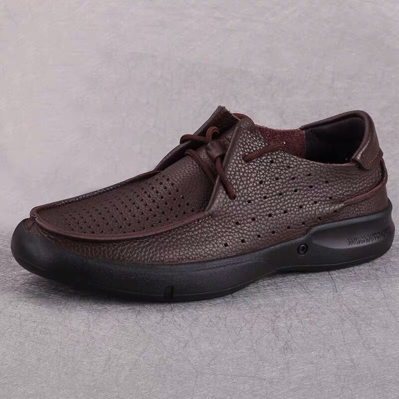 Summer top leather breathable hollow mesh soft sole casual leather sandals single layer hole middle aged cool shoes man