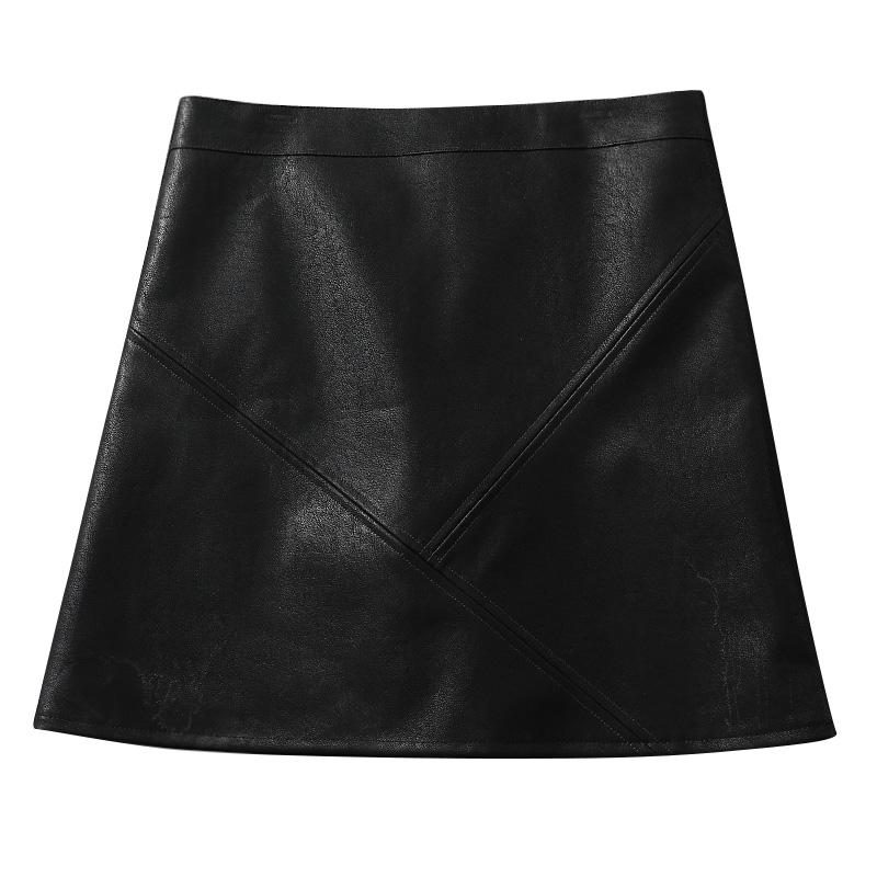 小皮裙女高腰半身裙PU短裙包臀裙子