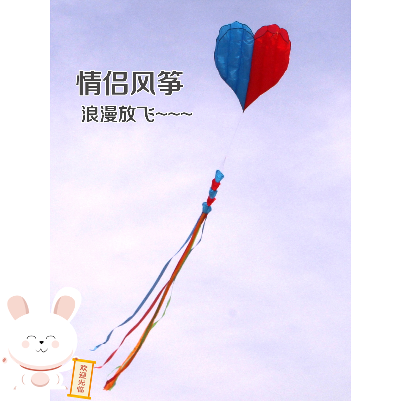 Large and large take-up device childrens lovely hand hold wheel tail kite super large super high grade fairy personality