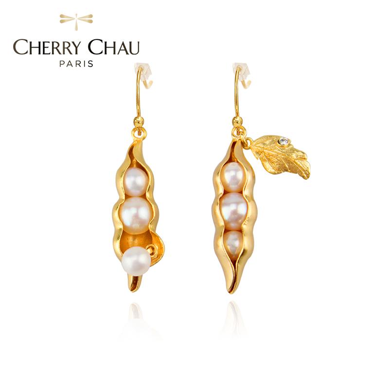 CHERRY CHAU 豌豆系列 浓情厚爱豌豆珍珠短款耳环