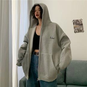 胖mm大码拉链薄款卫衣女秋装2020韩版宽松200斤开衫外套上衣ins潮