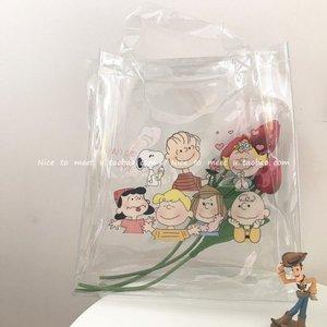 韩国ins可爱查理小狗pvc透明包夏日果冻沙滩包防水手提包购物袋女