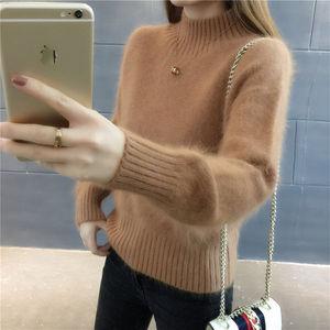 新款加绒加厚仿水貂绒毛衣女装秋冬宽松短款套头打底针织衫