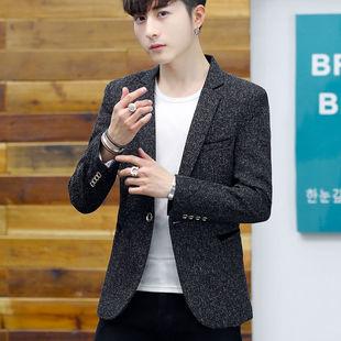 男士小西服秋冬季韩版修身外套青年潮男休闲上衣时尚帅气小西装