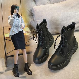 杨幂同款鞋马丁靴女帅气复古厚底工装英伦机车春秋单靴平底短靴子